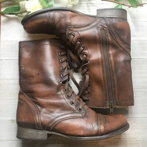 """Steve Madden """"Troopa"""" Brown Leather Boots"""